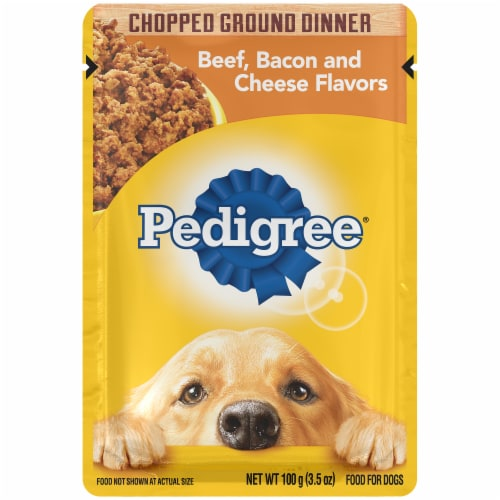 Pedigree Chopped Ground Dinner with Beef Bacon & Cheese Flavors Wet Dog Food Perspective: front