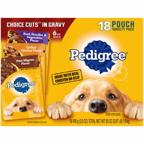 Pedigree Choice Cuts in Gravy Wet Dog Food Variety Pack 18 Count Perspective: front
