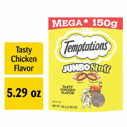 Temptations Jumbo Stuff Tasty Chicken Flavor Cat Treats Pouch Perspective: front
