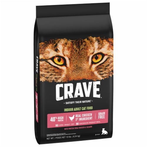 Crave Grain Free with Protein From Chicken & Salmon Indoor Adult Dry Cat Food Bag Perspective: front