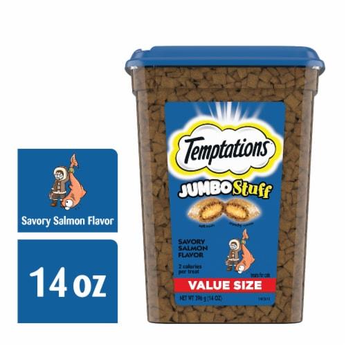 Temptations Jumbo Stuff Savory Salmon Flavor Cat Treats Perspective: front