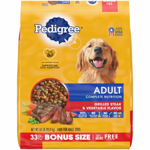 Pedigree Adult Complete Nutrition Grilled Steak & Vegetable Flavor Dry Dog Food Bonus Size Perspective: front