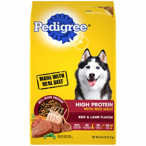 Pedigree High Protein Beef & Lamb Flavor Adult Dry Dog Food Bag Perspective: front