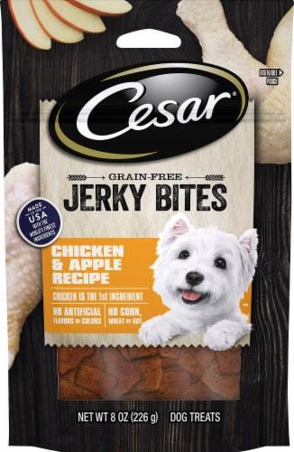 Cesar Chicken & Apple Recipe Jerky Bites Dog Treats Perspective: front