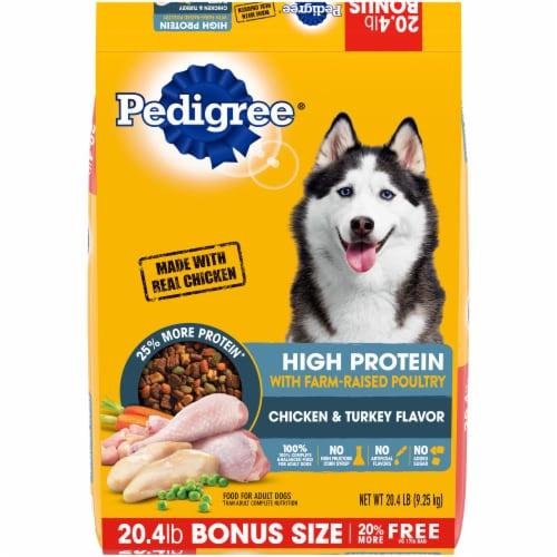 Pedigree High Protein Chicken & Turkey Flavor Dry Dog Food Perspective: front