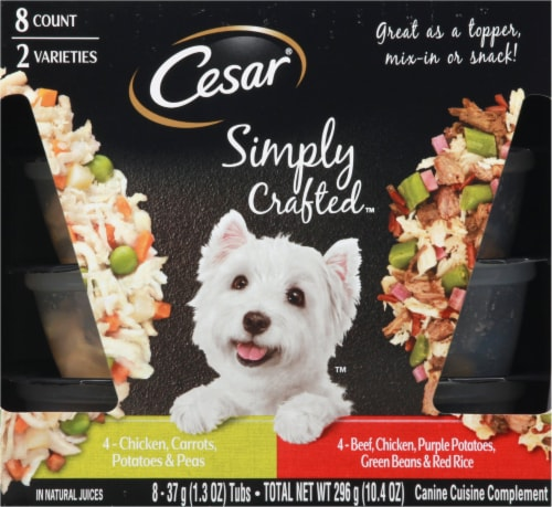Cesar Simply Crafted Chicken & Beef Wet Dog Food Variety Pack Perspective: front