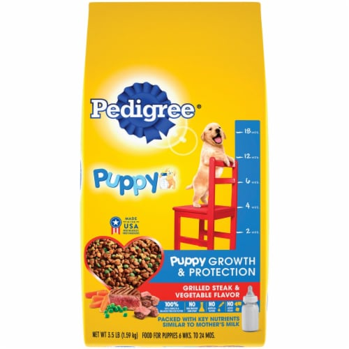 Pedigree Complete Nutrition 3.5 Lb. Grilled Steak & Vegetable Dry Puppy Food Perspective: front