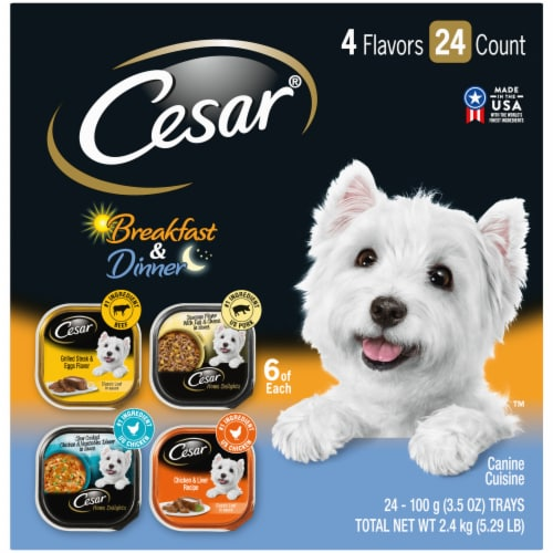 Cesar Canine Cuisine Breakfast & Dinner Wet Dog Food Variety Pack Perspective: front