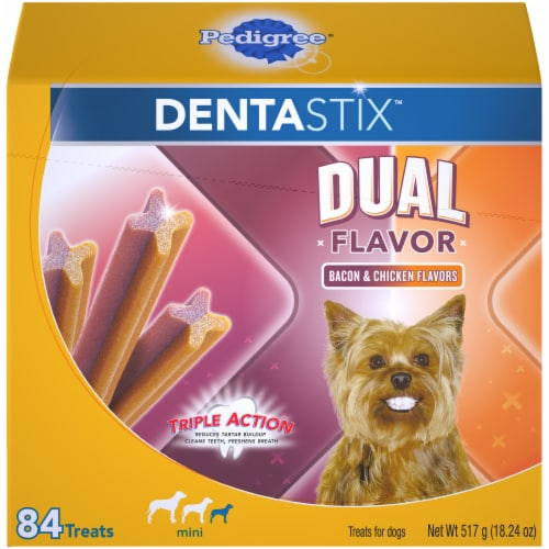 Pedigree Dentastix Bacon & Chicken Dual Flavor Mini Dog Treats Perspective: front