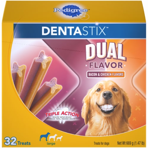 Pedigree Dentastix Bacon & Chicken Dual Flavor Large Dog Treats Perspective: front