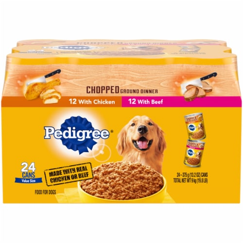Pedigree Chopped Ground Dinner Wet Dog Food Variety Pack Perspective: front