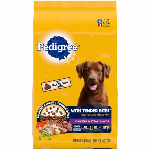 Pedigree With Tender Bites Chicken & Steak Flavored Two Texture Adult Dry Dog Food Perspective: front