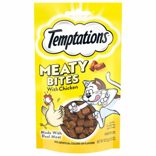 Temptations Chicken Flavor Cat Treats Pouch Perspective: front