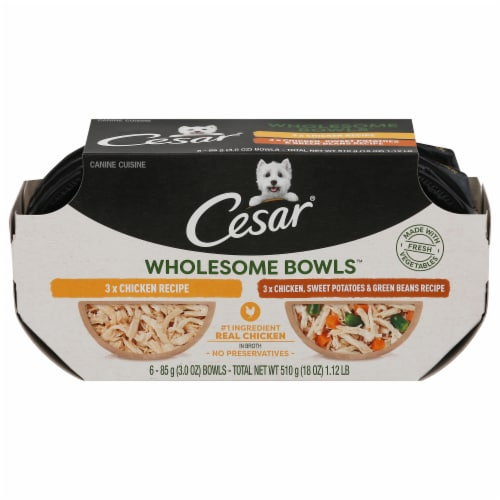 Cesar Wholesome Bowls Chicken Recipe and Chicken Sweet Potato & Green Beans Wet Dog Food Perspective: front