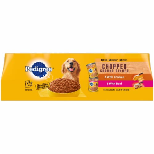 Pedigree Chopped Ground Dinner Chicken and Beef Wet Adult Dog Food Variety Pack Perspective: front