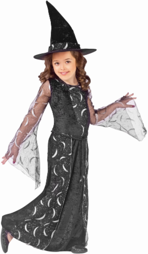 Holiday Times Girls' Small Sorceress Costume - Black/Silver Perspective: front