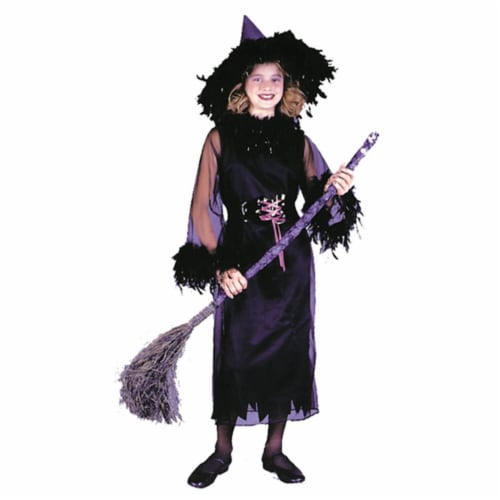 Costumes For All Occasions Fw8762Bkmd Feather Witch Blk Child Med Perspective: front