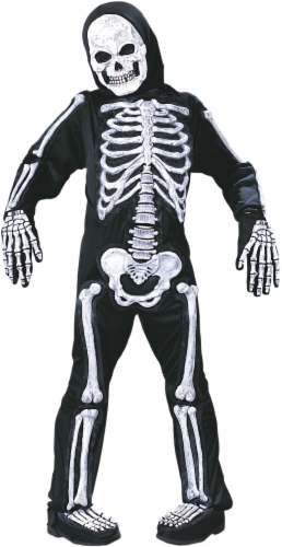 Holiday Times Children's Medium Skelebones Costume - Black/White Perspective: front