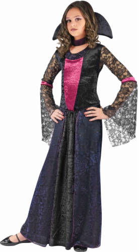 Holiday Times Girls' Large Vampire Costume - Black/Pink Perspective: front
