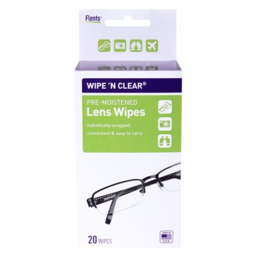 Flents Wipe-n-Clear Pre-Moistened Lens Wipes Perspective: front