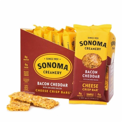 Sonoma Creamery Bacon Cheddar Cheeae Crisp Bars 8 Count Perspective: front