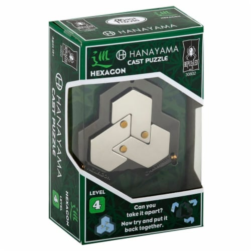 BePuzzled Hexagon Hanayama Cast Metal Puzzle Perspective: front