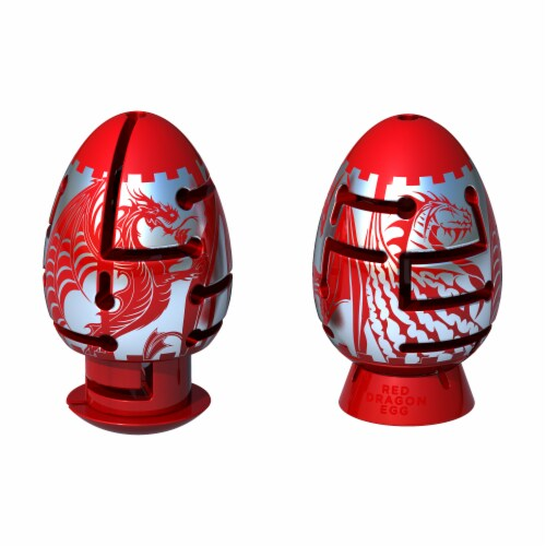 BePuzzled Smart Egg 2 Layer Red Dragon Labyrinth Puzzle Perspective: front