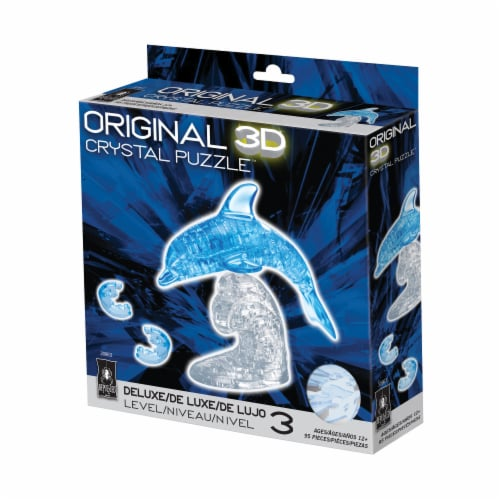 BePuzzled 3D Dolphin Crystal Puzzle - Blue Perspective: front
