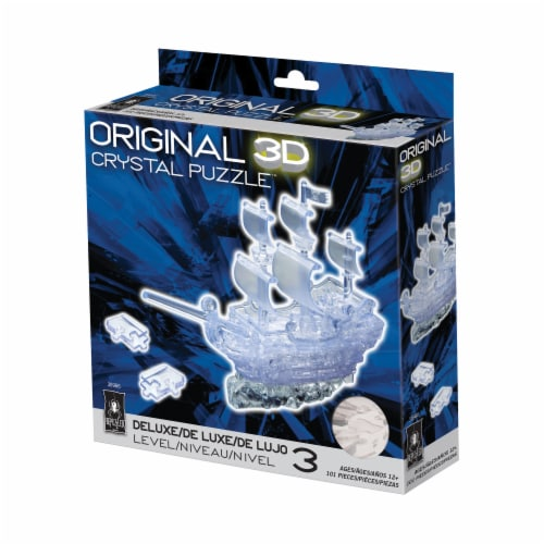 BePuzzled 3D Pirate Ship Crystal Puzzle Perspective: front
