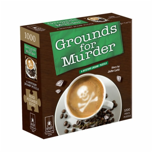 BePuzzled Grounds for Murder Classic Mystery Jigsaw Puzzle Perspective: front