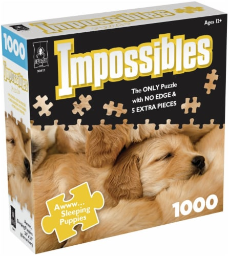Jigsaw Puzzle 1000 Pieces 24 X24 -Impossibles- Awww Sleeping Puppies Perspective: front