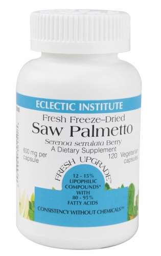 Eclectic Institute Saw Palmetto Vegetarian Capsules 600 mg Perspective: front