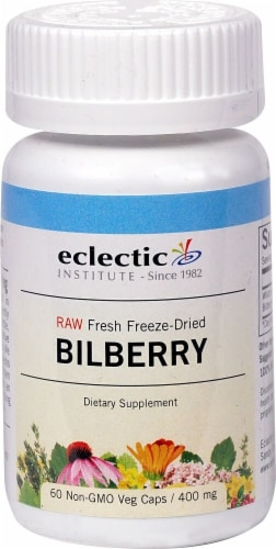 Eclectic Institute Raw Bilberry Veg Caps 400 mg Perspective: front