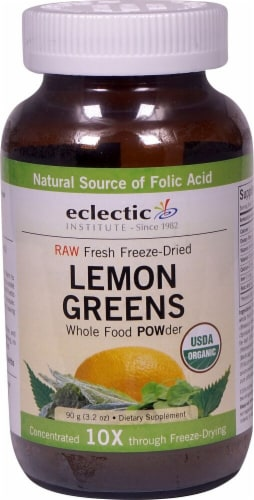Eclectic Institute Lemon Greens Whole Food Powder Perspective: front