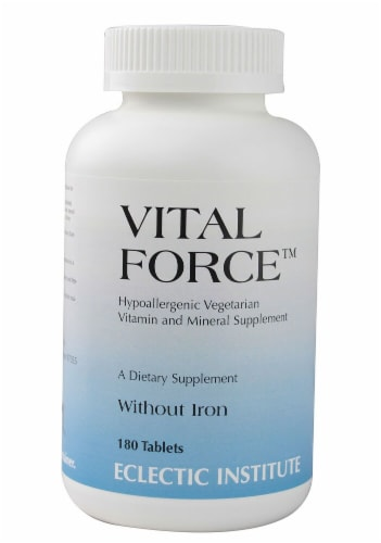 Eclectic Institute Vital Force without Iron Supplement Tablets Perspective: front
