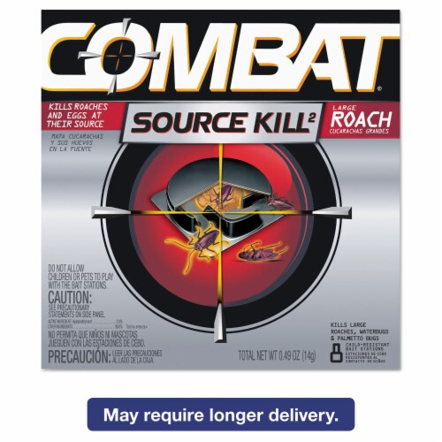 Combat Source Kill Max 0.49 Oz. Solid Large Roach Bait Station (8-Pack) Perspective: front