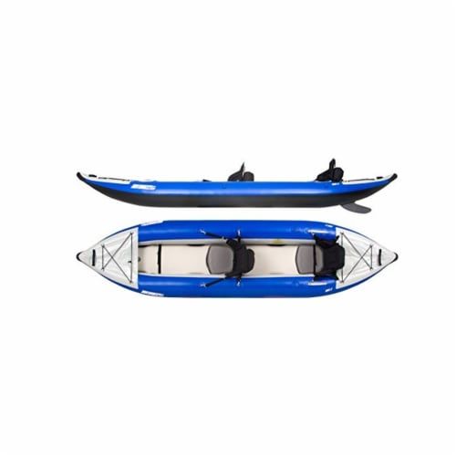 Sea Eagle 380X Inflatable 3 Person Kayak Explorer with Pro Package, White/Blue Perspective: front