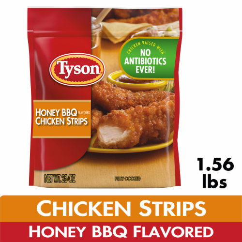 Tyson Fully Cooked Honey BBQ Chicken Strips Perspective: front