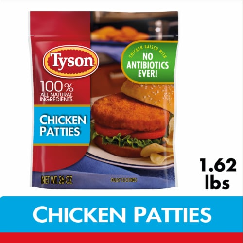 Tyson Fully Cooked Chicken Patties Perspective: front