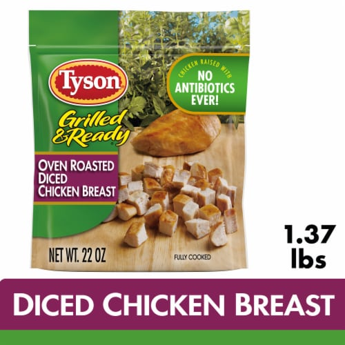 Tyson Grilled & Ready Fully Cooked Oven Roasted Diced Chicken Breast Perspective: front