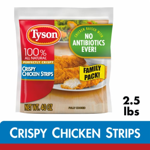 Tyson Fully Cooked Crispy Chicken Strips Perspective: front