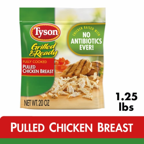 Tyson Grilled & Ready Fully Cooked Pulled Chicken Breast Perspective: front