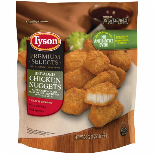 Tyson Premium Selects Fully Cooked Breaded Chicken Nuggets Perspective: front