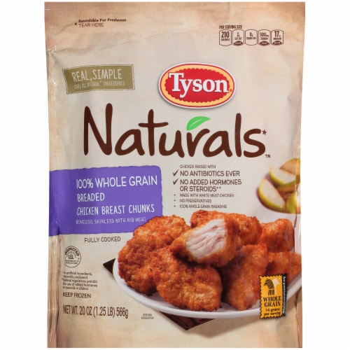 Tyson Naturals 100% Whole Grain Breaded Chicken Breast Chunks Perspective: front
