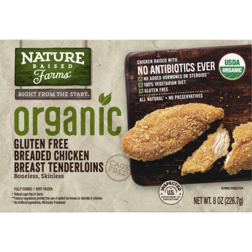 Nature Raised Farms Organic Gluten Free Breaded Chicken Breast Tenderloins Perspective: front