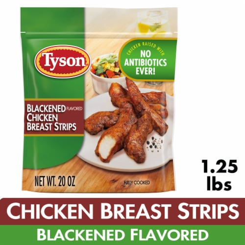 Tyson Blackened Flavored Unbreaded Chicken Strips Perspective: front