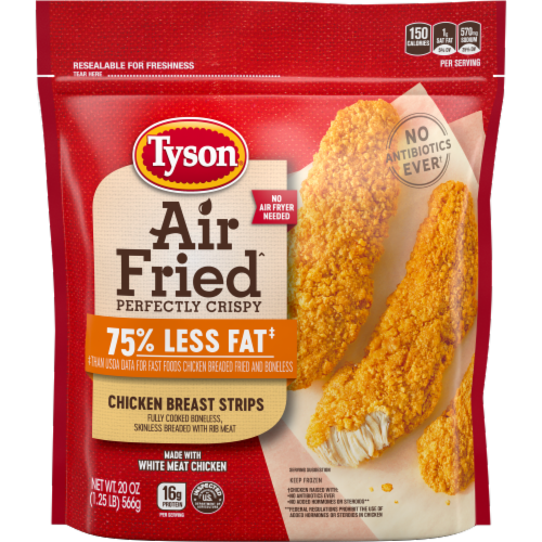 Tyson Air Fried Perfectly Crispy Chicken Breast Strips Perspective: front