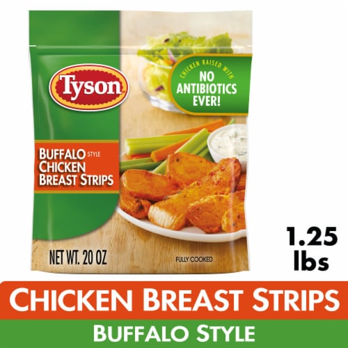 Tyson Fully Cooked Unbreaded Buffalo Style Chicken Breast Strips Perspective: front