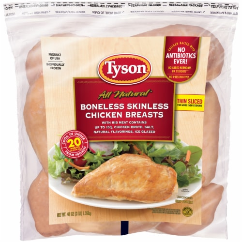 Tyson All Natural Boneless Skinless Chicken Breasts Perspective: front