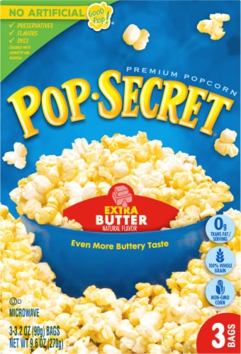 Pop Secret Extra Butter Popcorn Bags 3 Count Perspective: front
